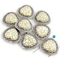 8 White Turquoise and silver beads slider beads 11062