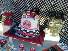 Mickey Mouse race car birthday party cake! See more party ideas at CatchMyParty.com!