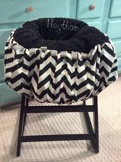 Black and White Chevron Shopping Cart Cover by TWINSANDQUINN on Etsy