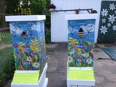 My hand painted bee hives ready to head out to the field! Beehive Image, Bee Hives Boxes, Honey Bee Hives, Honey Bees, Raising Bees, I Love Bees, Bee House, Bee Skep, Bee Art