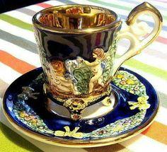 Tea Cup Set, My Cup Of Tea, Tea Cup Saucer, Teapots And Cups, Teacups, Antique Tea Cups, Tea Art, China Tea Cups, Chocolate Pots