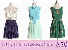 Some great picks on this list for under $50.  I just bought the pink satin dress from H&M last week.
