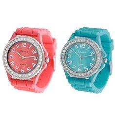Geneva Womens Platinum Silicon Link Watch