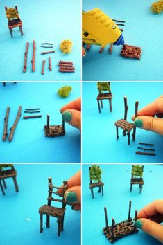 How to Create a Neon Terrarium with Twig Fairy Table and Chairs DIY / Indoor Gar. How to Create a Neon Terrarium with Twig Fairy Table and Chairs DIY / Indoor Gardening / Garden / Succulents by esther Mini Fairy Garden, Fairy Garden Houses, Fairies Garden, Gnome Garden, Fairy Garden Furniture, House Furniture, Fairy Crafts, Fairy Garden Accessories, Diy Accessories