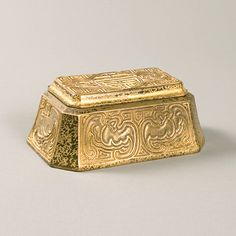"A Tiffany Studios New York gilt bronze ""Chinese"" inkwell, from the ""Chinese"" desk set. A similar inkwell is pictured in Tiffany Desk Sets, by William R. Holland, Atgen, PA: Schiffer Books, 2008, page 135, figure 8-8."