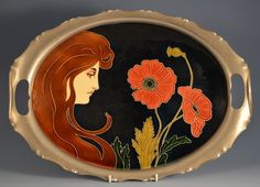 Handled tray with Art Nouveau maiden and poppy flowers, designed by Carl Sigmund Luber, glazed earthenware, metal frame, 16.5 in. long