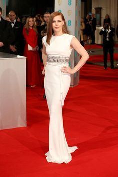 Amy Adams in a white Lanvin gown with a jeweled waist at the 2015 BAFTAs