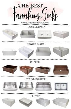 Looking for a farmhouse sink for your home? Check out this list of the Best Farmhouse Sinks, including the different styles available and tips to consider! kitchen sink Home // Best Farmhouse Sinks - Lauren McBride Best Kitchen Sinks, Farmhouse Sink Kitchen, Kitchen Redo, Cool Kitchens, White Farmhouse Sink, Faucets For Farmhouse Sinks, Stainless Steel Farmhouse Sink, Small Kitchens, Bathroom Sinks