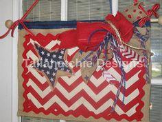 Burlap Patriotic Flag Burlap Door Hanger by TallahatchieDesigns, $25.00