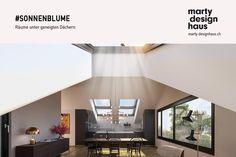 Räume unter geneigten #Dächern generieren durch #Dachschrägen und den entsprechenden #Dachfenstern eine ganz spezifische Stimmung. Ceiling Lights, Inspiration, Lighting, Design, Home Decor, Roof Window, Mood, Build House, Projects