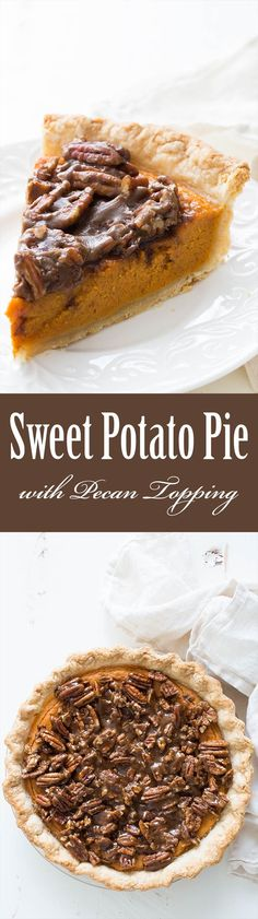 Holiday sweet potato pie with a pecan topping. Dense and sweet filling with sweet potatoes, sweetened condensed milk, cinnamon, nutmeg, ginger, vanilla, and bourbon. Topped with candied pecan topping. Perfect for #Thanksgiving Delicious! ~ SimplyRecipes.com