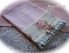 Shabby Chic tea towel with gingham, lace, bows , buttons and crinoline ladies. www.createdbycath.com