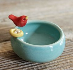 Sweet Little Red Bird on an Aqua Bowl with Nest. $34.00, via Etsy.