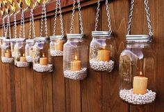 Garden lighting using mason jars, perfect for outdoor wedding