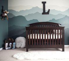 Ombre mountain nursery wallpaper in steel blue. Adventure nursery ideas #nurseryideas #wallpaper