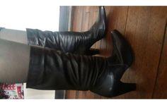 botas negras altas en cuero talla 37
