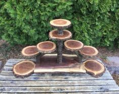 Log Elm Wood Rustic Cake 120 Cupcakes Pie Stand Wedding party shower wooden 9 tiered Collapsible, Lumberjack party, wild things are, boho Cupcake Stand Wedding, Cake And Cupcake Stand, Cake Stands, Lumberjack Party, Rustic Cake, Walnut Wood, Things To Come, Wild Things, Boho