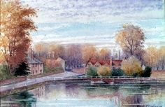 A view across the picturesque town ponds of Carshalton. This watercolour was painted by Frank Dickinson who designed and built Little Holland House in Carshalton Beeches. Holland House, Local History, West London, Local Artists, Ponds, Surrey, The Locals, Watercolour, Nostalgia