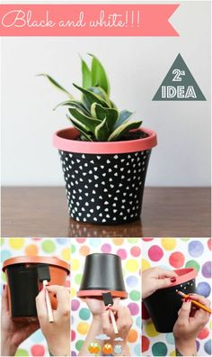 Idea Of Making Plant Pots At Home // Flower Pots From Cement Marbles // Home Decoration Ideas – Top Soop Painted Plant Pots, Painted Flower Pots, Painted Pebbles, Hand Painted, Painting Plastic, Diy Painting, Stone Painting, Cactus Plante, Flower Pot Design