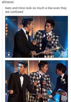 Baro from and Mino from Winner having a momentary identity crisis <<< best things ever Winner Meme, Winner Kpop, Mino Winner, Vixx, Btob, K Pop, Haha, Drama Memes, Jackson