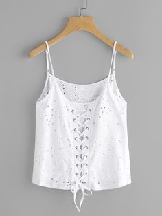 Shop Grommet Lace Up Back Eyelet Cami Top online. SheIn offers Grommet Lace Up Back Eyelet Cami Top & more to fit your fashionable needs. Dress Neck Designs, Blouse Designs, Checkered Outfit, Two Piece Rompers, Cool Outfits, Fashion Outfits, Fashion Corner, Unique Prom Dresses, Tumblr Outfits