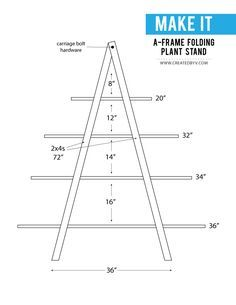 See how to build this A-frame folding plant stand out of western red cedar to beautifully display an outdoor plant collection! See how to build this A-frame folding plant stand out of western red cedar to beautifully display your plant collection! Woodworking Shop Layout, Woodworking Projects That Sell, Woodworking Joints, Woodworking Plans, Green Woodworking, Plant Shelves Outdoor, Plant Ladder, Cedar Plant, A Frame Chicken Coop
