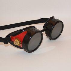 Steampunk Goggles, Steampunk, Goggles, Red Goggles, Hotrod, Victorian,  Aviator, Sunglasses, Aviator Goggles, Victorian Goggles, Sci Fi