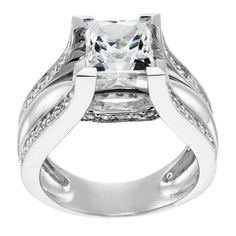 14K White Gold 2.01 cts Princess Cut Lab Created Engagement Ring $1639