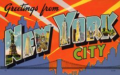 """Greetings from New York City""... from a collection of vintage large letter, linen postcards from the 1930s and 1940s."