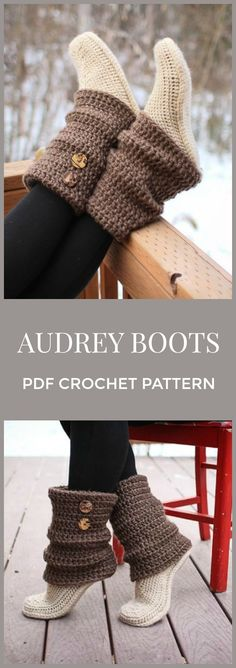 Audrey Boots crochet pattern, pdf, instant download, crochet slippers, crochet socks, #affiliate