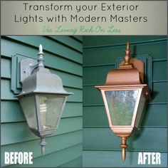 How To Transform Outdoor Lighting - with Modern Masters Paint products, you can easily transform your dull, lifeless outdoor fixtures for very little money! This paint line has a lot of different colors and finishes available.