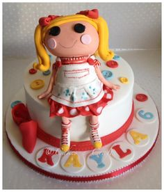 """lalaloopsy doll cake    the doll is made of sugarpaste on an 8"""" cake"""