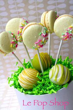 Lemon Macaron Pops with Chocolate and Vanilla Cake Pops.  Original design by Le Pop Shop.
