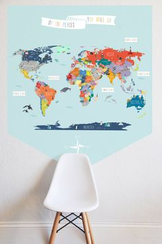 Interactive world map map design playrooms and room a fun and informative way to help the kiddos become familiar with the map of the worlde entire design measures x decal is one solid piece with gumiabroncs Images