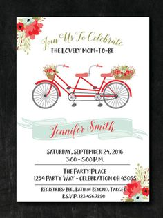 249e324ad11e Bicycle Baby Shower Invitation - Mint