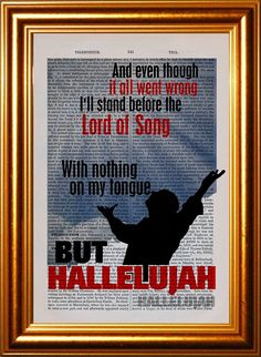 Leonard Cohen Hallelujah 2 song lyric Print on by ForgottenPages