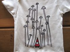 Gnome and Mushrooms Organic Cotton Shirt Babies Kids