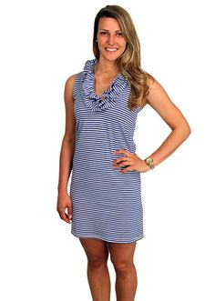 Cotton Skipper Sleeveless Dress in Royal Blue Stripe by Just Madras