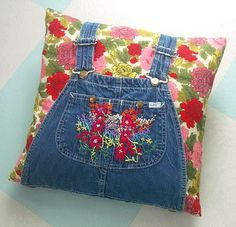 The Well-Dressed pillow - would be cute way to use your children's overalls for a collection of smaller pillows!