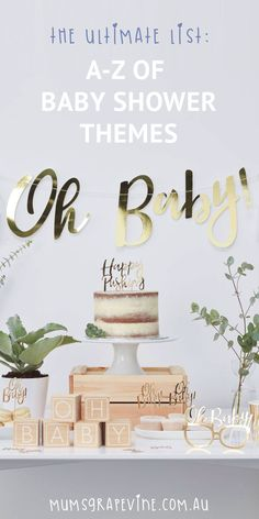 The Ultimate List: A-Z of baby shower theme ideas #babyshower #babyshowerideas #babyshowerthemes #duesoon #babyontheway #bump