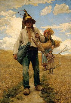 """Georges Laugée: """"French Peasants in a Stubble Field"""",   1882, oil on canvas, Measurements: 167 x 117 cm, Colchester and Ipswich Museums Service."""