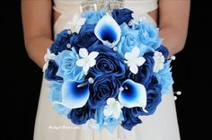 Blue Wedding Flowers Royal Blue and Light Blue Wedding Flower Package accented with crystals, stephanotis and blue picasso calla lilies Wedding Flower Packages, Blue Wedding Flowers, Wedding Colors, Blue Wedding Decorations, Tangerine Wedding, Our Wedding, Dream Wedding, Wedding Stuff, Wedding Dress