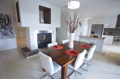 new home, modern home, modern build, feature fireplace, woodfire, dining room inspiration, entry feature, designer homes, display home