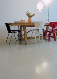 gietvloer hoogglans Epoxy, Dining Table, Flooring, House, Trap, Furniture, Home Decor, Country, Store