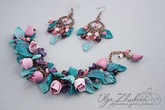 Bracelet and earrings with roses by polyflowers on deviantART