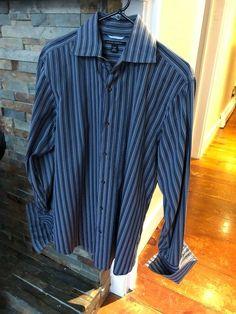 4a396e43f Banana Republic Long Sleeve Blue and Gray Striped Dress Shirt with French  Cuffs  fashion