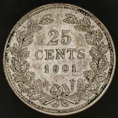 Nederland - 25 cent 1901b Wilhelmina - zilver
