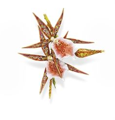A RARE ENAMEL AND DIAMOND ORCHID BROOCH, BY TIFFANY & CO.