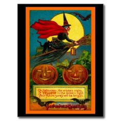This Halloween postcard displays a fantastic vintage illustration of a witch flying with her black cat . Perfect for Halloween party invitations. Retro Halloween, Halloween Fotos, Vintage Halloween Images, Halloween Pictures, Halloween Gifts, Holidays Halloween, Halloween Pumpkins, Happy Halloween, Halloween Witches
