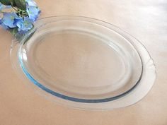 "Platter Oval Glass Ovenware Pyrex Broiler Plate 13"" Art Deco Blue Tint Vintage Glass Tray Made in the USA Mid-Century Tableware"